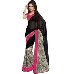 Buy BLACK PRINTED BHAGALPURI SILK SAREE WITH BLOUSE shimmer-saree online