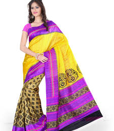 Buy YELLOW PRINTED BHAGALPURI SILK SAREE WITH BLOUSE shimmer-saree online