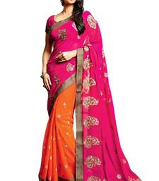 Buy Pink And  Orange embroidered CHIFFON saree with blouse chiffon-saree online