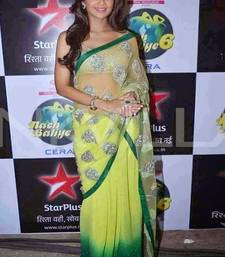 Buy Green embroidered net saree with blouse shilpa-shetty-saree online