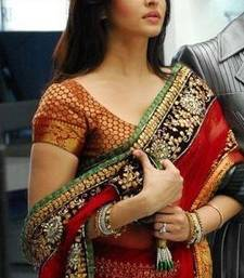 Buy Red embroidered net saree with blouse aishwarya-rai-saree online