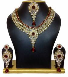 Buy maroon colour string kundan necklace set necklace-set online