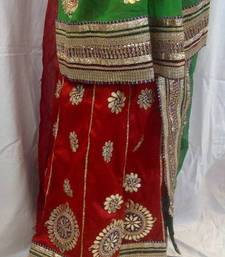 Red-Green Gotta Patti Heavy Work Lehenga shop online