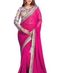 Buy Crimson embroidered georgette saree with blouse wedding-saree online