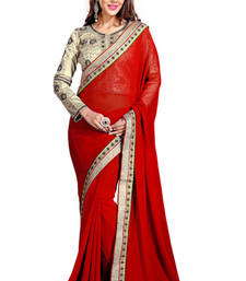 Buy Red embroidered georgette saree with blouse wedding-saree online