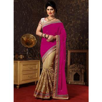 Buy Pink And Chikoo Embroidered Jacquard Saree With Blouse Online