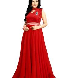 Buy Red plain Velvet & Net semi stitched salwar with dupatta party-wear-gown online