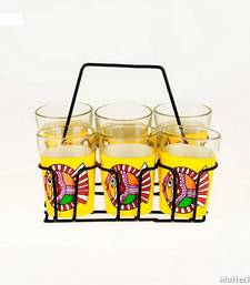 Buy Hand painted MuHeNeRa set of 6 glass with stand tg Mithila Matsya tea-kettle online