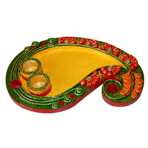 Buy kundan meena pooja thali online for Aarti thali decoration with kundan