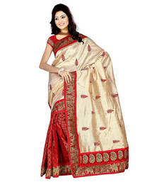Buy Beige embroidered chanderi saree with blouse chanderi-saree online