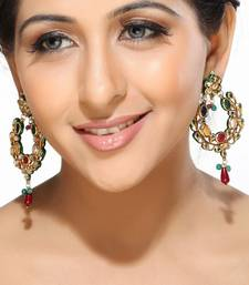 Buy Multicolour Kundan Hoop Earrings hoop online