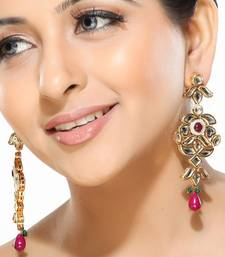 Buy Kundan and Meenakari Dangler Earrings danglers-drop online