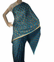 Buy Sky Blue embroidered chiffon saree with out blouse phulkari-saree online