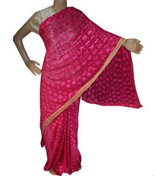Buy Magenta embroidered chiffon saree with out blouse phulkari-saree online