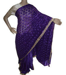 Buy Indigo embroidered chiffon saree with out blouse phulkari-saree online