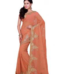 Buy Rust embroidered georgette saree with blouse party-wear-saree online