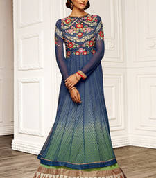 Buy Blue embroidered Net semi stitched salwar with dupatta party-wear-salwar-kameez online