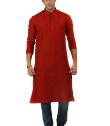 Buy Red Blended Khadi men-kurtas men-kurta online