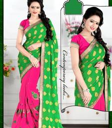 Buy Pink And Green embroidered georgette saree with blouse brasso-saree online