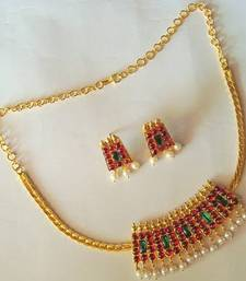 Buy BEAUTIFUL UNIQUE PEARL GOLD TONE ROYAL MAROON GREEN TEMPLE NECKLACE EARRINGS necklace-set online