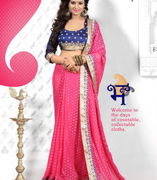 Buy Pink embroidered viscose_rayon saree with blouse viscose-saree online