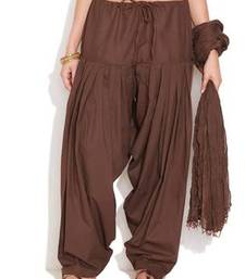 Buy Brown Cotton Patiyala and Dupatta Set patialas-pant online
