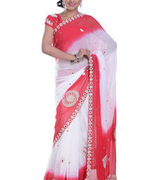 Buy RED+WHITE embroidered viscose-sarees saree viscose-saree online