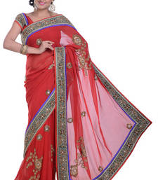Buy RED embroidered viscose-sarees saree viscose-saree online