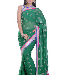 Buy GREEN embroidered viscose-sarees saree viscose-saree online