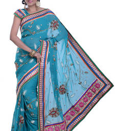 Buy FIROJA BLUE embroidered viscose-sarees saree viscose-saree online