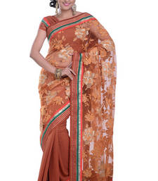 Buy BROWN embroidered viscose-sarees saree viscose-saree online