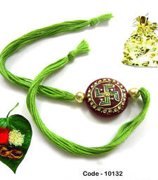 Buy Swatik Eye catching  Tanjore Rakhi rakhi-gift-hamper online