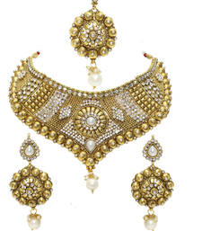 Buy Gold Bridal Necklace Set necklace-set online