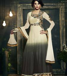 Buy Grey embroidered georgette semi stitched salwar with dupatta anarkali-salwar-kameez online