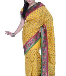 Buy Yellow embroidered silk saree with blouse dupion-saree online