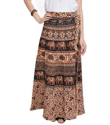 Buy Beige Bagru Printed Cotton Wrap Around Long Skirt skirt online