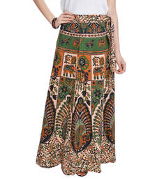 Buy Beige Bagru Printed Cotton Wrap Around Long Skirt navratri-skirt online