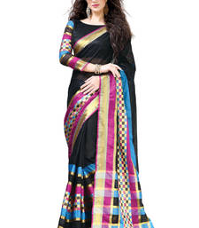 Buy Aura Cotton Saree Black Woven Cotton Saree with Zari work cotton-saree online