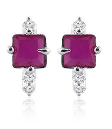 Buy Traditional Silver Red Ruby Cz Hoop Earring Ad Bali by Jewelscart.in hoop online