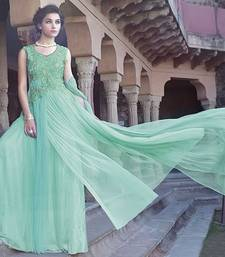Buy Aqua embroidered Net semi stitched party-wear-gowns party-wear-gown online