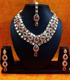 Buy Pretty Pink Kundan Like Work Necklace Set MW54lp necklace-set online