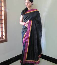Buy Scintilating Black Tussar Silk Designer Saree tussar-silk-saree online