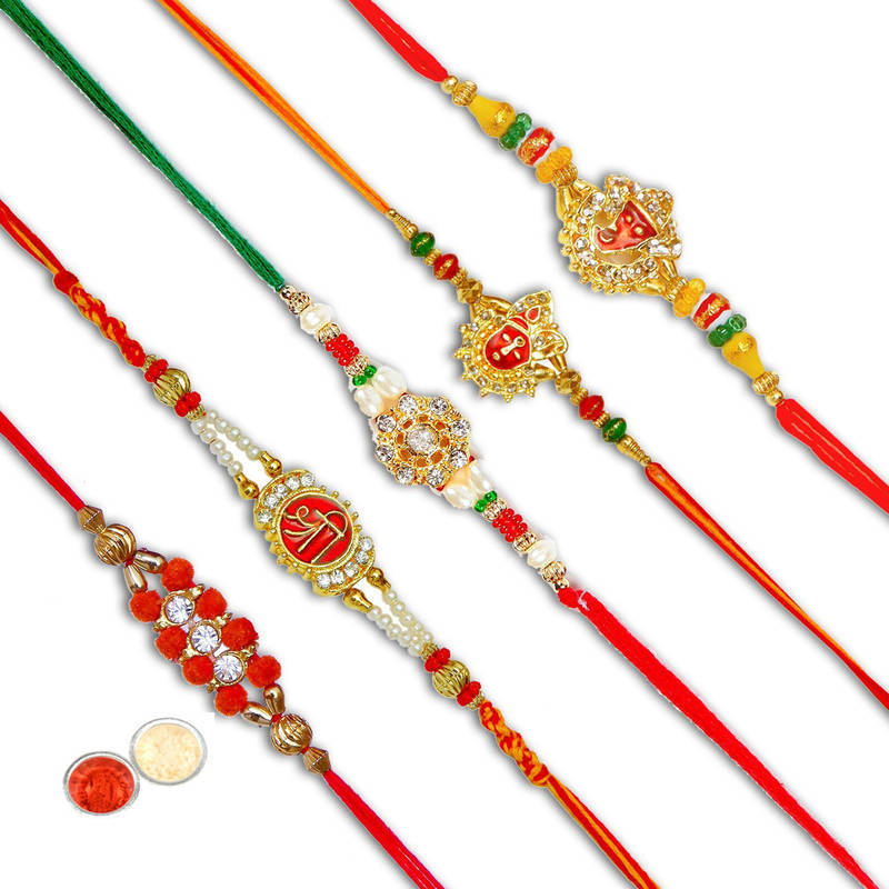Buy Handcrafted Designer Fancy Rakhi Set Online
