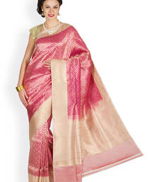 Buy Maroon  and  Crème hand_woven satin saree with blouse satin-saree online