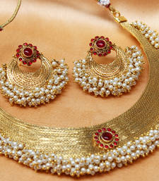Buy Gorgeous Gold plated pearl necklace necklace-set online