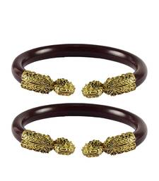 Buy Maroon color Acrylic and Brass bangle bangles-and-bracelet online