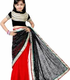 Buy Red and black woven net saree with blouse kids-saree online
