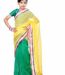 Buy Green and yellow woven net saree with blouse kids-saree online