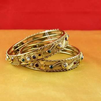 gold moti stone cz polki kundun meenakari pearl bangle kara size-2.4,2.8