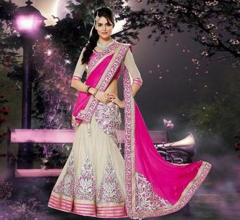 White and Pink Embroidered Net and Chiffon unstitched lehenga-choli